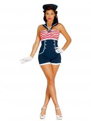 Pin-Up-Matrosin - Kostüm für Damen - blau-weiß-rot