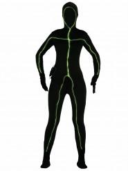 Leuchtender Gankörperanzug Damenkostüm schwarz-grün