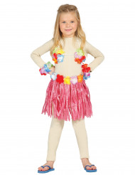 Hawaii-Mädchenset Insel-Kostüm rosa-bunt