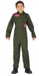 Pilotenkostüm für Kinder, olivgrün