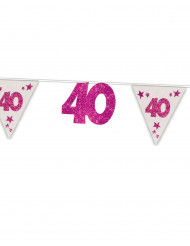 Girlande 40. Geburtstag mit Wimpeln weiss-pink 6m