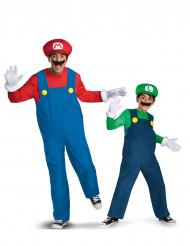Luigi™ und Mario™ Paarkostüm Erwachsener und Kind Lizenzkostüm blau-grün-rot