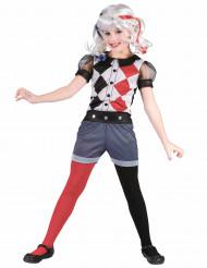 Harlekin-Kinderkostüm für Mädchen schwarz-weiss-rot