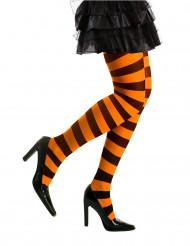 Halloween Ringelstrumpfhose orange-schwarz