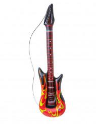 Aufblasbare Rock-Gitarre mit Flammen schwarz-rot-gelb 105cm