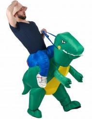 Aufblasbares Carry-Me-Kostüm Dinosaurier bunt