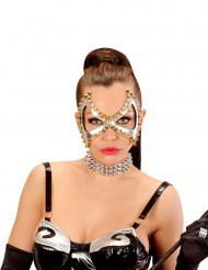 Punk-Maske mit Nieten für Damen Kostümaccessoire silber-gold