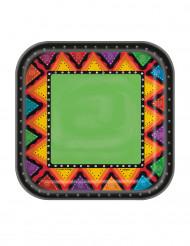 Mexiko Pappteller Party-Deko 10 Stück bunt 18cm