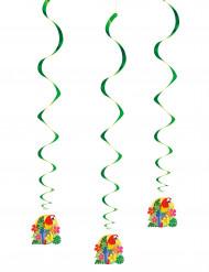 Hawaii Hänge-Spiralen Party-Deko 3 Stück bunt 66cm