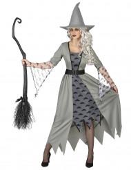 Hexen-Verkleidung für Damen grau-schwarz