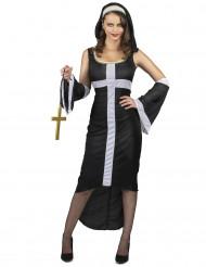 Sexy Nonne Damenkostüm schwarz-weiß