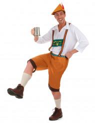 Herrenkostüm Bayer mit Lederhose orange-weiß-bunt