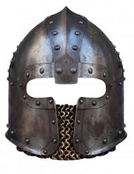 Normannenhelm-Maske Ritter-Pappmaske silber
