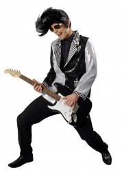 Rock'n'Roll Disco Jackett Pailletten schwarz-weiss-silber