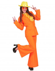Damen 70er Disco-Kostüm Erwachsene orange