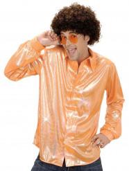 Holographische Disco-Herrenhemd orange