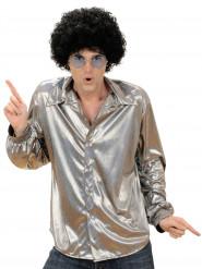 Schimmerndes Disco-Hemd für Herren silber