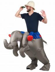 Aufblasbares Carry-Me-Kostüm Elefant grau-blau