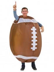 Aufblasbarer Football Unisex-Kostüm braun-weiss