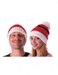 Kuschelige Weihnachts-Bommelmütze rot-weiss