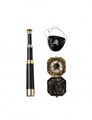 Pirat Accessoires-Set 3-teilig schwarz-gold