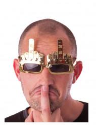 Mittelfinger Spassbrille gold-schwarz