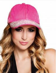 Schildmütze Cap mit Pailletten pink-silber