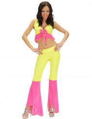 70er 80er Party Damenkostüm neongelb-neonpink