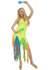 70er Party Strandkleid Damenkostüm neongelb-bunt
