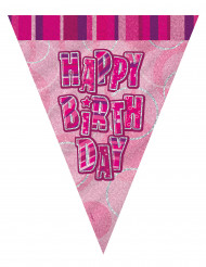Party Dekoration Wimpelgirlande Happy Birthday pink