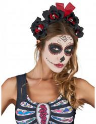 Dia de los Muertos Haarreif mit Totenkopf-Rosen Halloween-Accessoire schwarz-rot