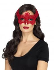 Teuflische Vampirin-Augenmaske für den Maskenball Kostüm-Accessoire für Halloween rot