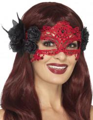 Ornament-Augenmaske für Damen rot-schwarz