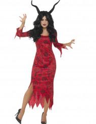 Dämonin-Halloween Damenkostüm rot-schwarz