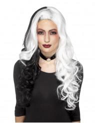 Zweifarbige Lockenperücke für Hexen weiss-schwarz