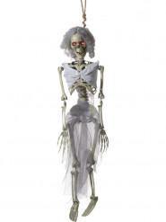 Skelett-Braut Halloween-Hängedeko mit Leuchtaugen beige-grau 90cm