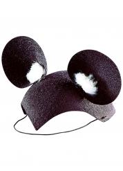 Maus Hut mit Ohren schwarz-weiss