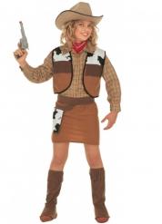 Cowgirl Wildwest Kinderkostüm braun-weiss-schwarz
