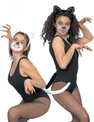 Katzen Kostüm-Set 3-teilig schwarz