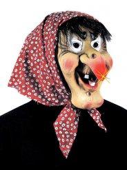 Hexenmaske Deluxe mit Kopftuch bunt
