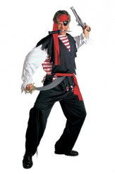 Pirat Kostüm schwarz-rot-weiss