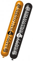 Luftballons Happy Halloween Party-Deko orange-schwarz 122cm 2 Stück