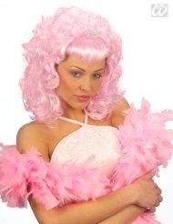 Locken-Perücke mit Pony pink