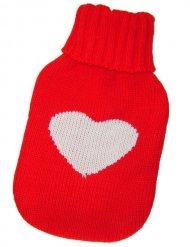 Wärmflaschen-Überzug Herz rot-weiss 15x26cm