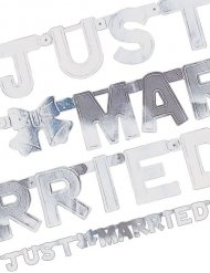Just Married Banner Hochzeitsdeko weiss-silber 130x11cm