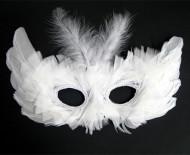 Venezianische Augenmasken mit Federn weiss