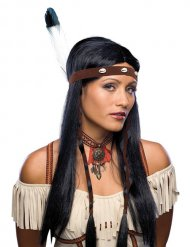 Indianerin Perücke schwarz-braun