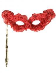 Venezianische Maske mit Griff rot