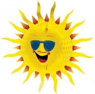 Wabendeko Sonne Party-Deko gelb 60cm