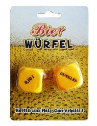 Entscheidungswürfel Bier Trinkspiel 2-teilig gelb-schwarz 2,5x2,5cm